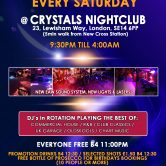 Crystals Saturday Free Entry B4 11pm for All